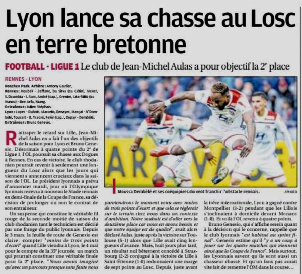 2018 Ligue 1 J30 RENNES LYON 0-1, le 29/03/2019