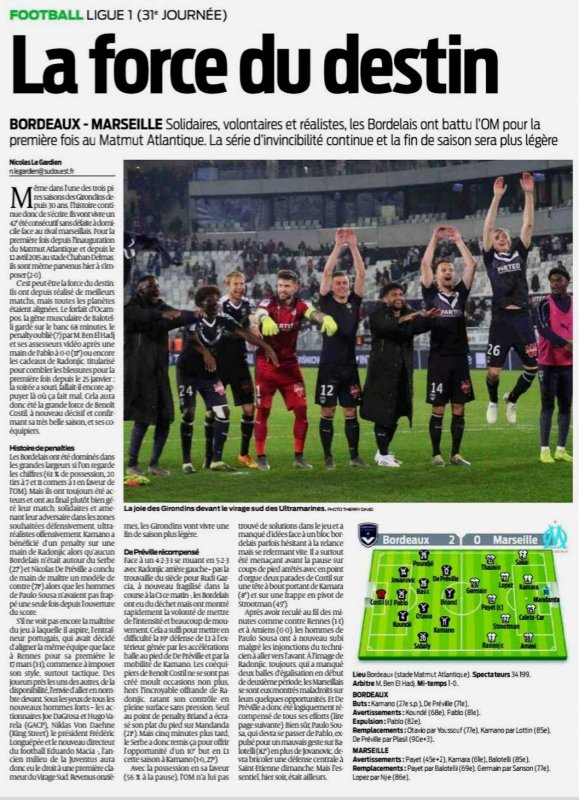2018 Ligue 1 J31 BORDEAUX MARSEILLE 2-0, le 05/04/2019