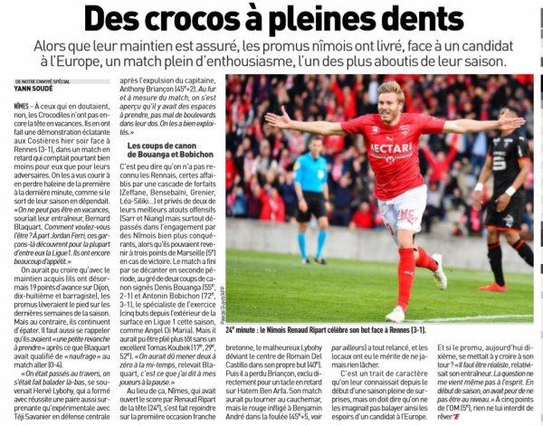 2018 Ligue 1 J27( Joué après J31 ) NÎMES RENNES 3-1, le 09/04/2019