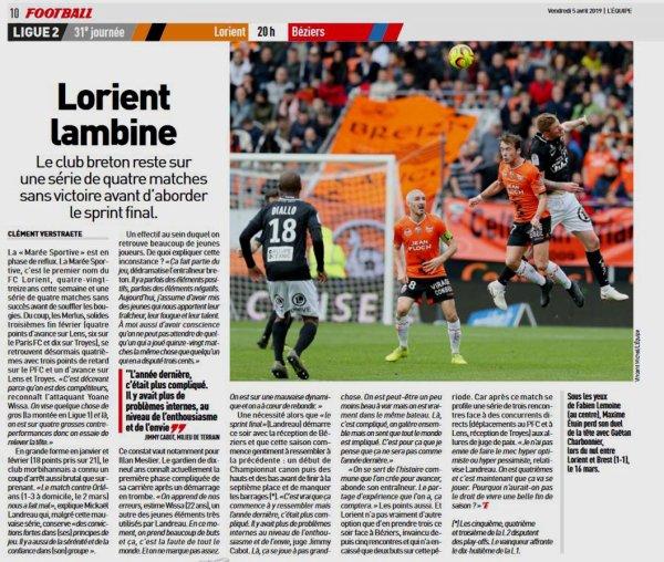 2018 Ligue 2 J31 LORIENT BEZIERS 3-1, le 05/04/2019