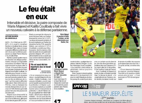 2018 Ligue 1 J28 ( joué après J32) NANTES PSG, le 17/04/2019
