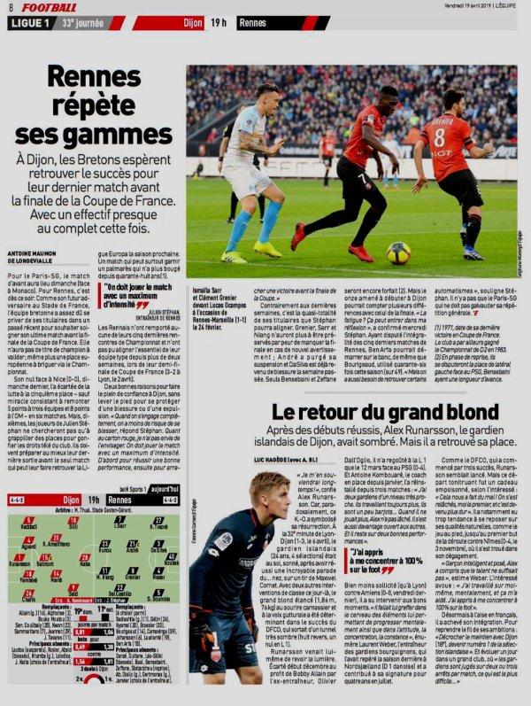 2018 Ligue 1 J33 DJION RENNES 3-2, le 19/04/2019