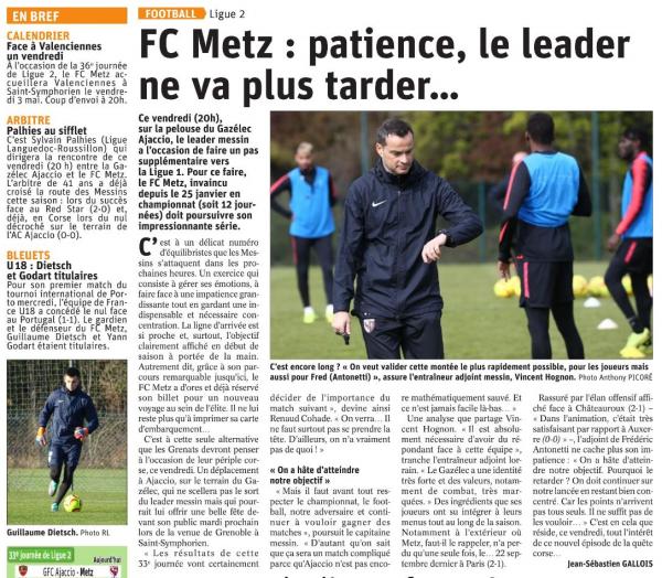 2018 Ligue 2 J33 GAZELEC METZ 0-2 , le 19/04/2019