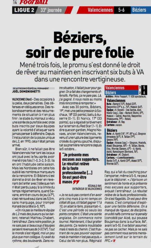 2018 Ligue 2 J33 VALENCIENNES BEZIERS 5-6, le 19/04/2019