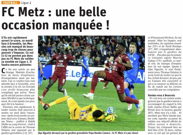 2018 Ligue 2 J34 METZ GRENOBLE 1-1, le 23/04/2019