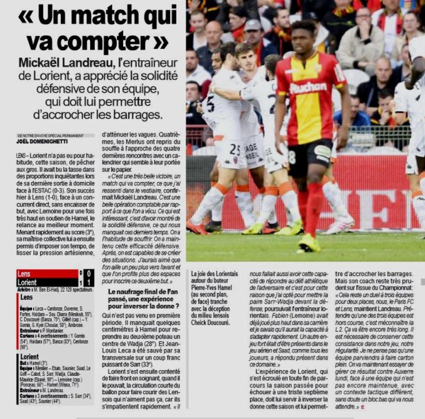 2018 Ligue 2 J34 LENS LORIENT 0-1, le 23/04/2019