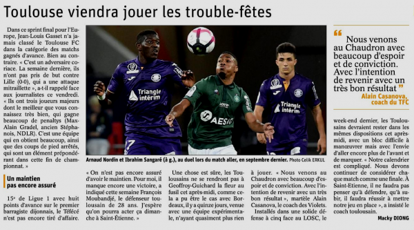2018 Ligue 1 J34 SAINT-ETIENNE TOULOUSE 2-0, le 28/04/2019