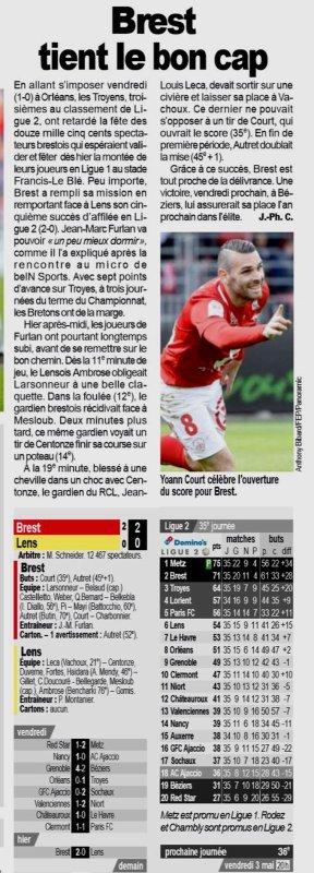 2018 Ligue 2 J35 BREST LENS 2-0, le 27/04/2019