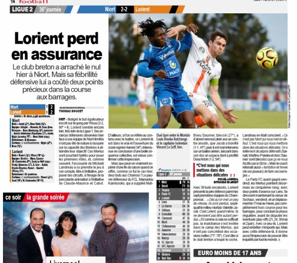 2018 Ligue 2 J36 NIORT LORIENT 2-2, le 06/05/2019