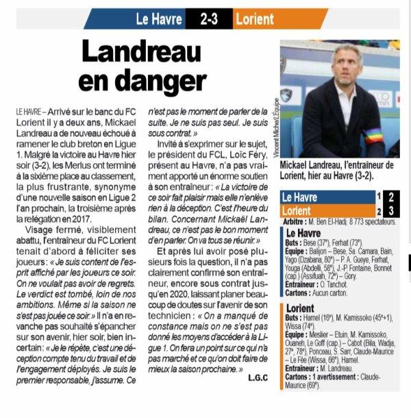 2018 Ligue 2 J38  LE HAVRE LORIENT 2-3, le 17/05/2019