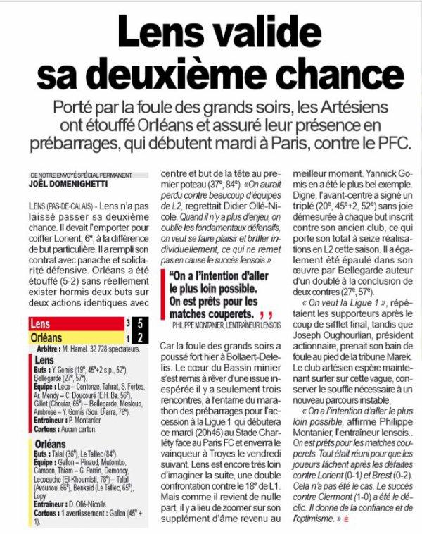 2018 Ligue 2 J38 LENS ORLEANS 5-2, le 17/05/2019