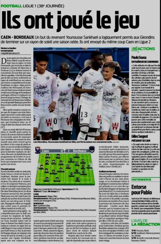 2018 Ligue 1 J38 CAEN BORDEAUX , le 24/05/2019