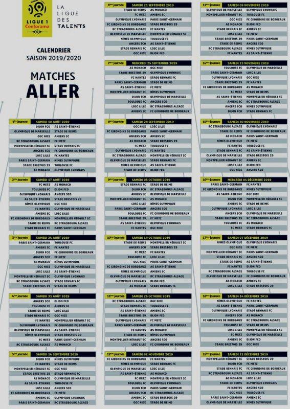 2019 Ligue 1 CALENDRIER de la SAISON 2019 - 2020, le 14/06/2019