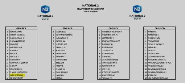 2019 NATIONAL 2 : REIMS dans le GROUPE A , le 16/07/2019