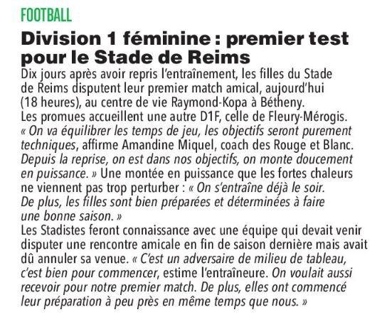 2019 Féminines AMICAL REIMS FLEURY 1-2, le 26/07/2019
