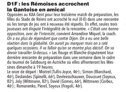 2019 Féminines AMICAL REIMS LA GANTOISE 0-0, le 10/08/2019