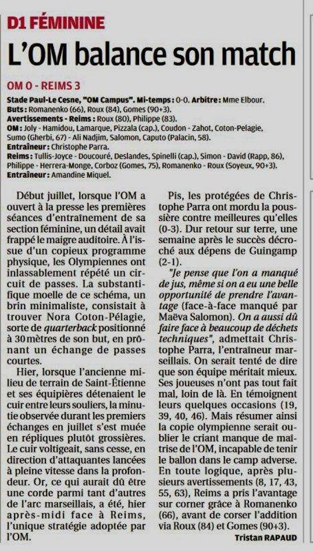 2019 D1 Féminines , J03 MARSEILLE REIMS 0-3,  le 14/09/2019