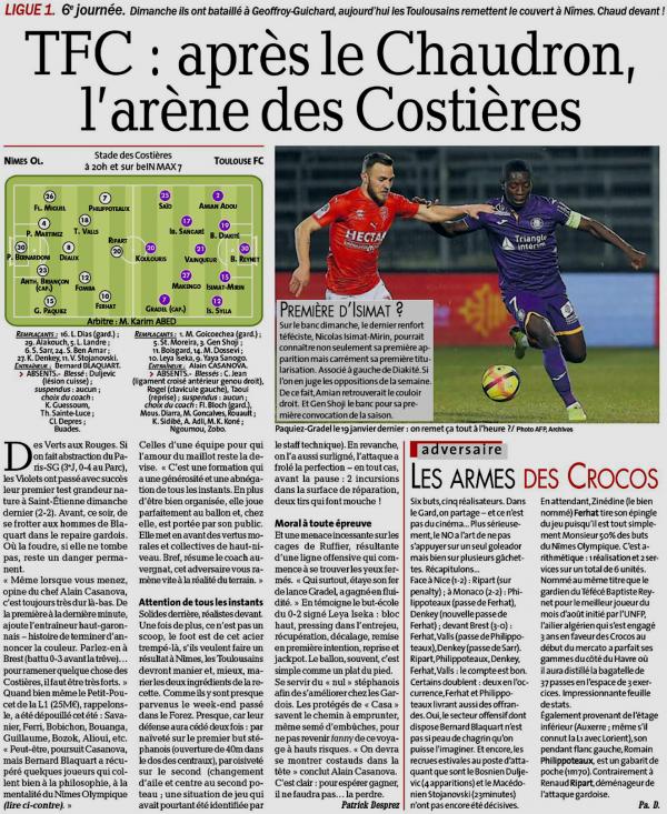 2019 Ligue 1 J06 NÎMES TOULOUSE, l'avant match, le 21/09/2019