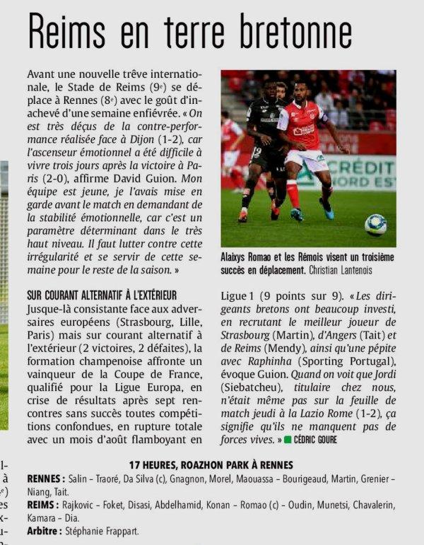 2019 Ligue 1 J09 RENNES REIMS, l'avant match, le 06/10/2019