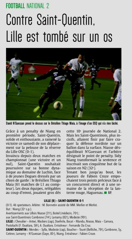2019 NATIONAL 2 J10 LILLE SAINT-QUENTIN 0-1 , le 02/11/2019