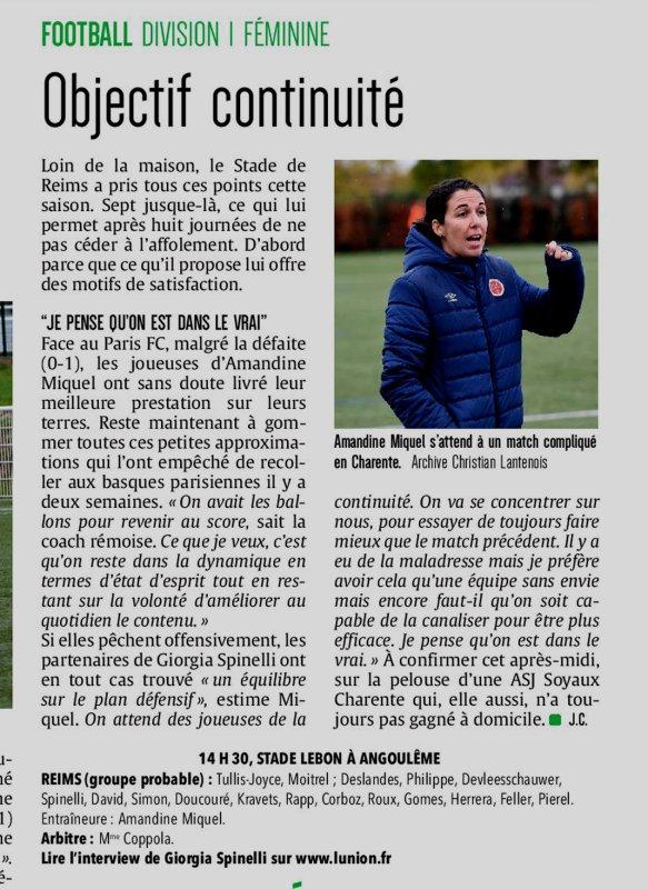 2019 D1 Féminines J09 SOYAUX REIMS 0-1,  le 16/11/2019