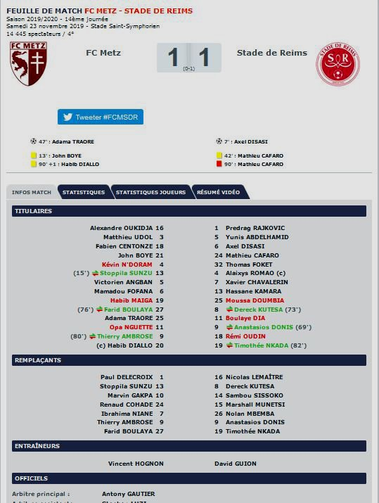 2019 Ligue 1 J14 METZ REIMS 1-1, le 23/11/2019