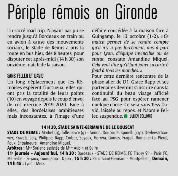 2019 D1 Féminines J11 BORDEAUX REIMS 2-0,  le 07/12/2019