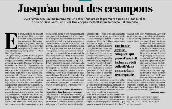 2019 Féminines : de la PELOUSE à la SCÈNE et à la TOURNÉE, le 09/12/2019