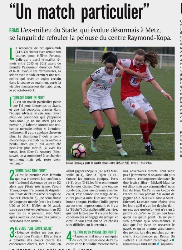 2019 D1 Féminines J13 REIMS METZ 1-0,  le 18/01/2020