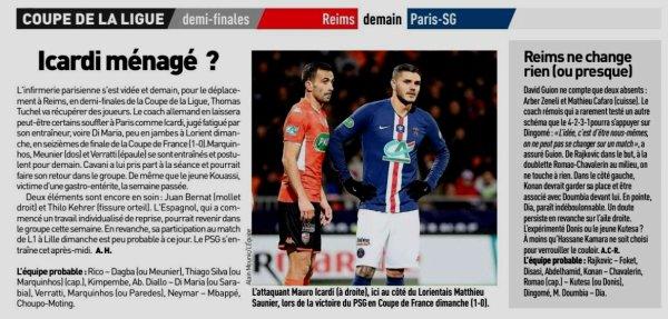 2019 CDL demie finale : REIMS PSG , avant match J-1, le 21/01/2020