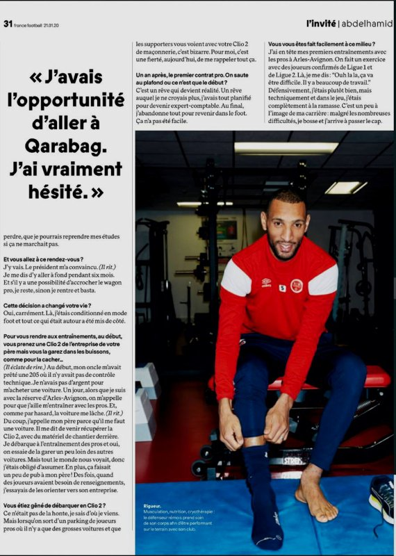 2020 ABDELHAMID dans FRANCE FOOTBALL, le 21/01/2020