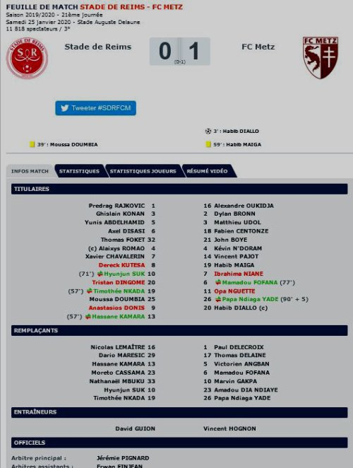 2019 Ligue 1 J21 REIMS METZ 0-1, le 25/01/2020