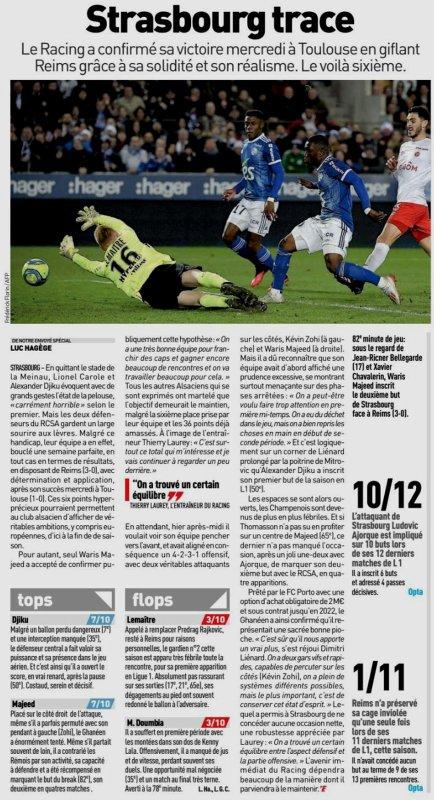 2019 Ligue 1 J24 STRASBOURG REIMS 3-0, le 09/02/2020
