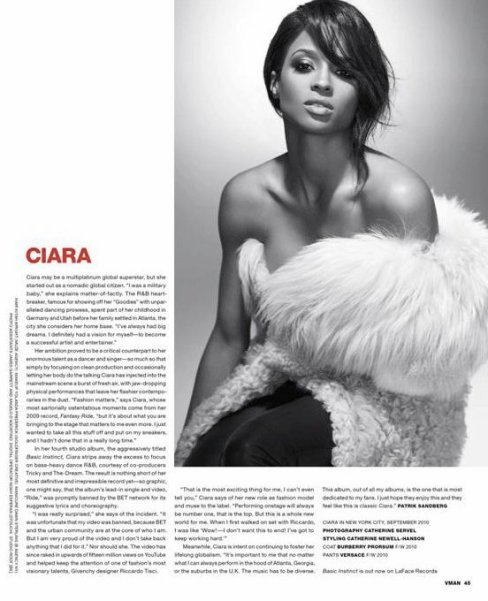 Ciara pour le magazine Vman