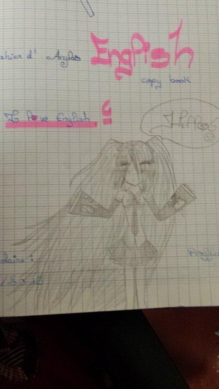 Hatsune Miku...sur la page de garde du cahier d'anglais