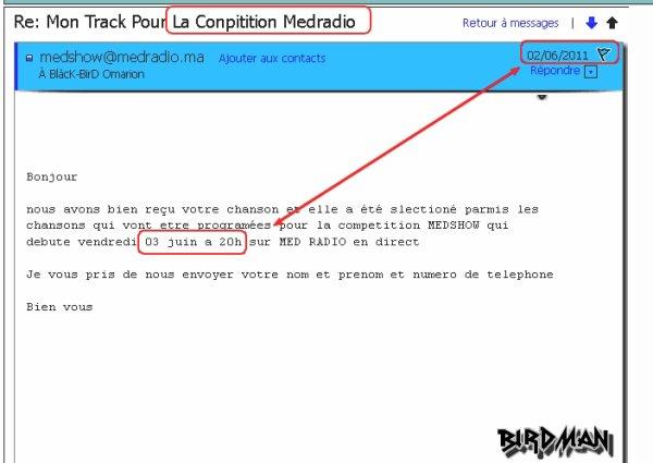 Msg De CHaine MEDRADIO Por La Compitition MEDSHOW [ Je La Ratée ]