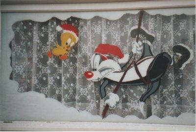 Décoration, pour Noël, de la fenêtre de ma maison.