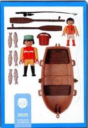 9605 pécheur + enfant & barque
