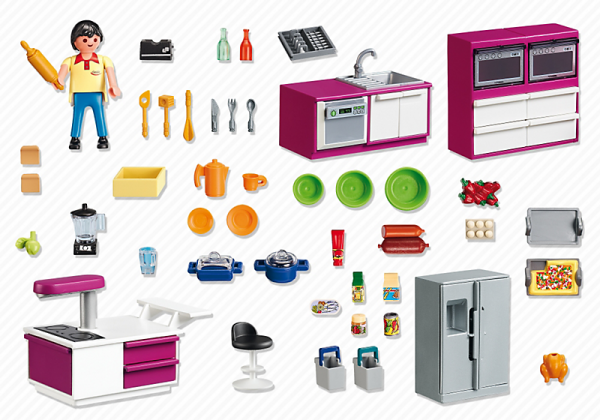 09 maison moderne luxe 5582 cuisine avec lot photo for Cuisine playmobil