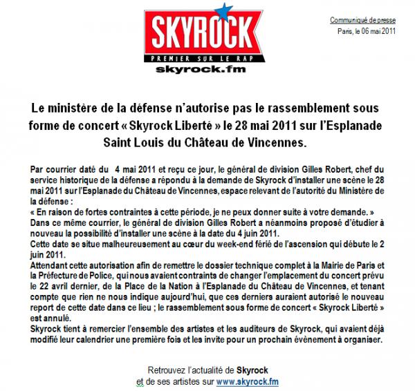 Concert annulé faute d'autorisation