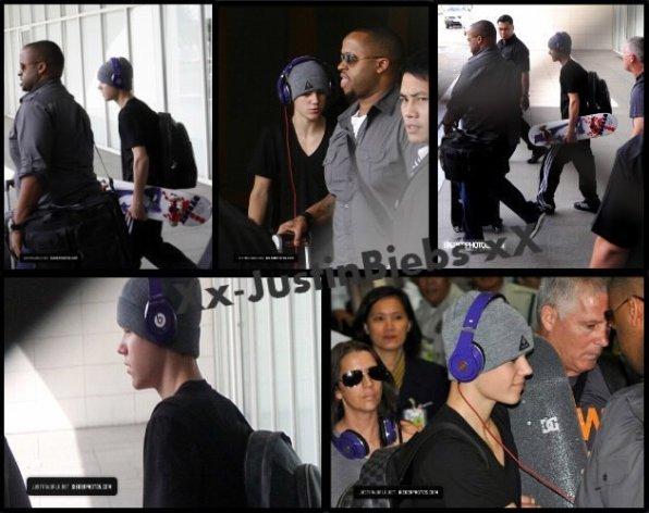 Justin Arrive à l'aéroport de Ninoy Aquino Manila, Philippines. Le 10/05/2011