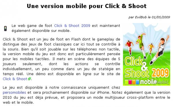Présentation de Click Shoot Mobile (PocketGamer)