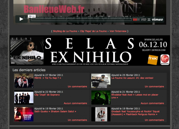 SELAS INTERVIEW SUR BANLIEUEWEB APRES THE GAME