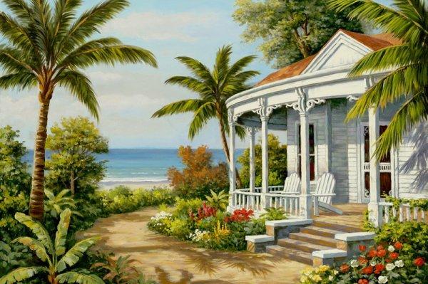 Ce charme si lointain des maisons au bord de la mer.