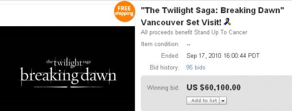 Rappelez vous, une association avait mis aux enchères une place VIP afin d'assister au tournage de Breaking Dawn. Les enchères ce sont terminées hier, et voilà donc le prix qu'a payé une personne pour avoir cette chance. C'est pas mal qu'en même.