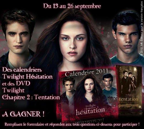 Viens tenter ta chance sur TEVA.fr pour gagner un calendrier Eclipse et le dvd de New Moon.