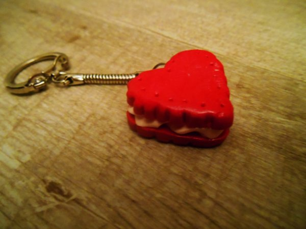 """Porte-clé """" Biscuit coeur """""""