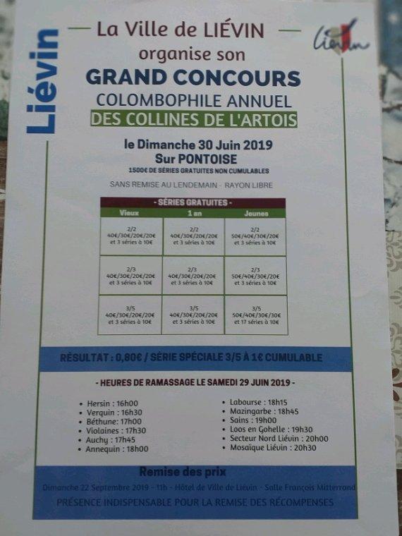 Grand concours colombophile les collines de l'Artois de Liévin rayon libre organisé par l'espérance mosaïque et la ville de Liévin