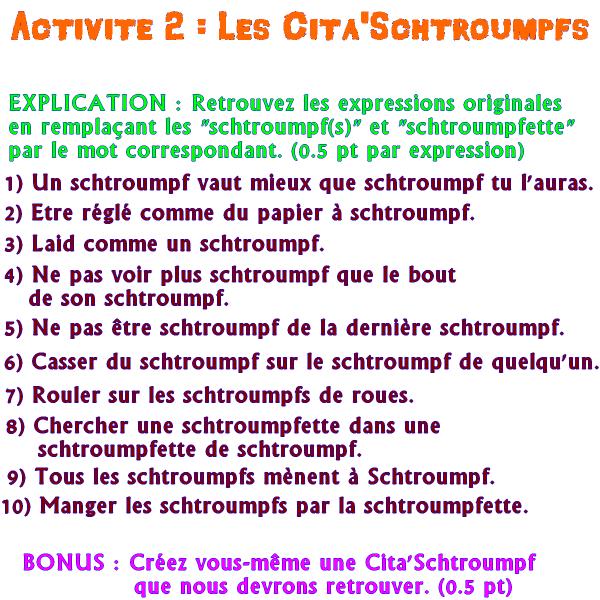 Epreuve 2 : Les Cita'Schtroumpfs