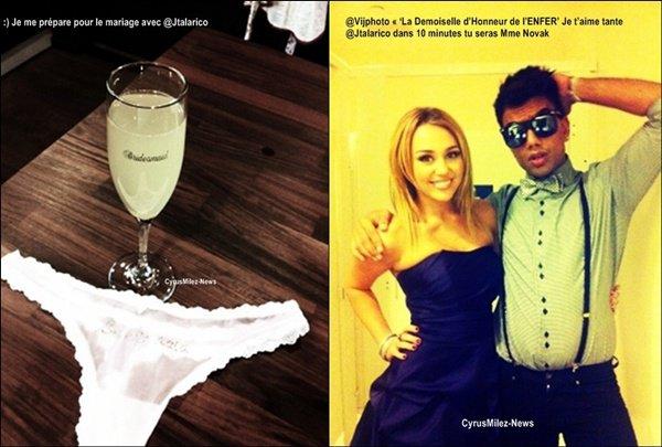 Rubrique : Photo Personnelle & Twitter           Decouvre deux twitpics que Miley a posté sur son Twitter samedi dernier.        Avant d'aller au mariage, Miley a confié Lila et Floyd à son ami Cheyne Thomas. C'est d'ailleurs elle qui a posté la photo des deux chiens sur Twitter